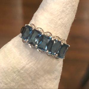 5 stone London Blue Topaz ring. Silver. Size 10.